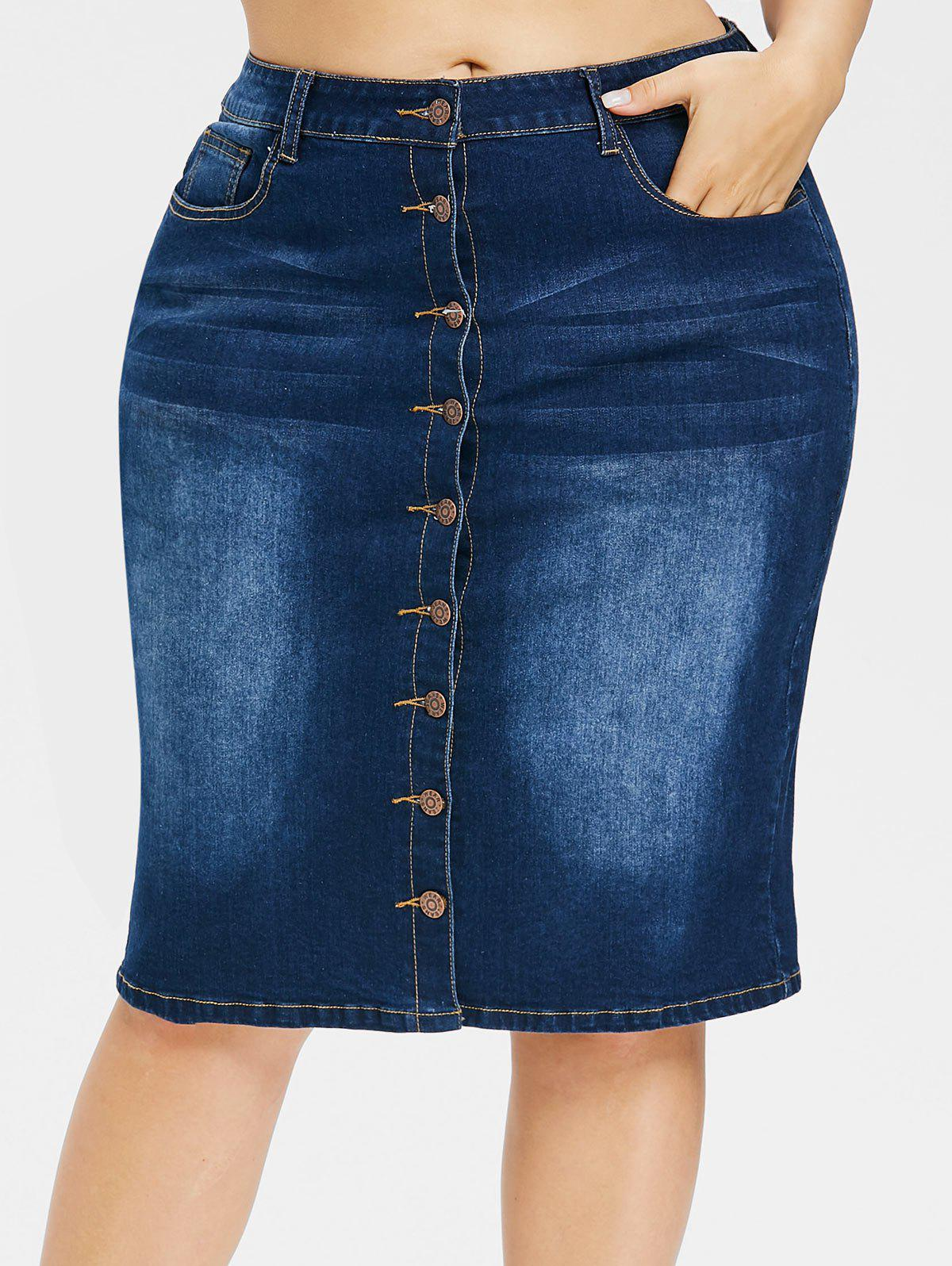 Shop Plus Size Faded Button Up Jean Skirt