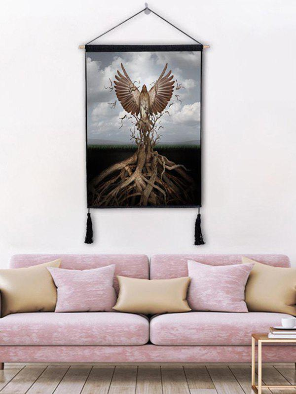 Fashion Tree Eagle Print Wall Rolling Tassel Hanging Painting