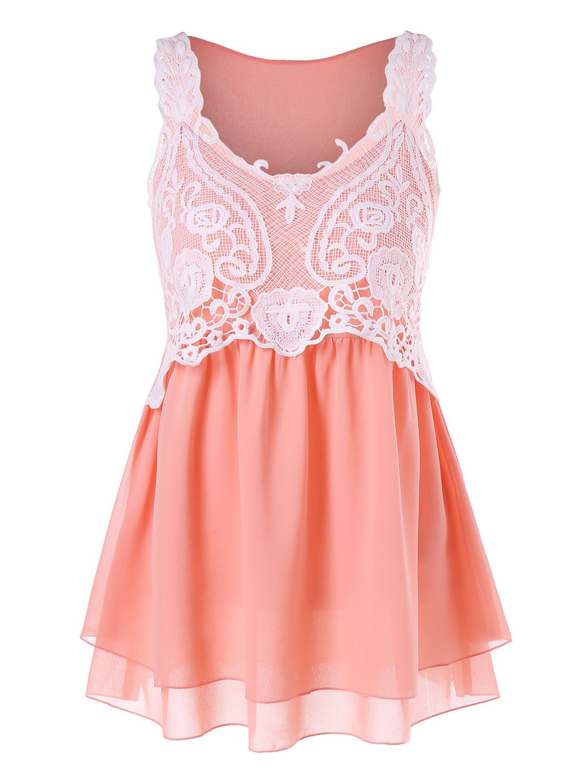 Affordable Lace Panel Chiffon Tank Top