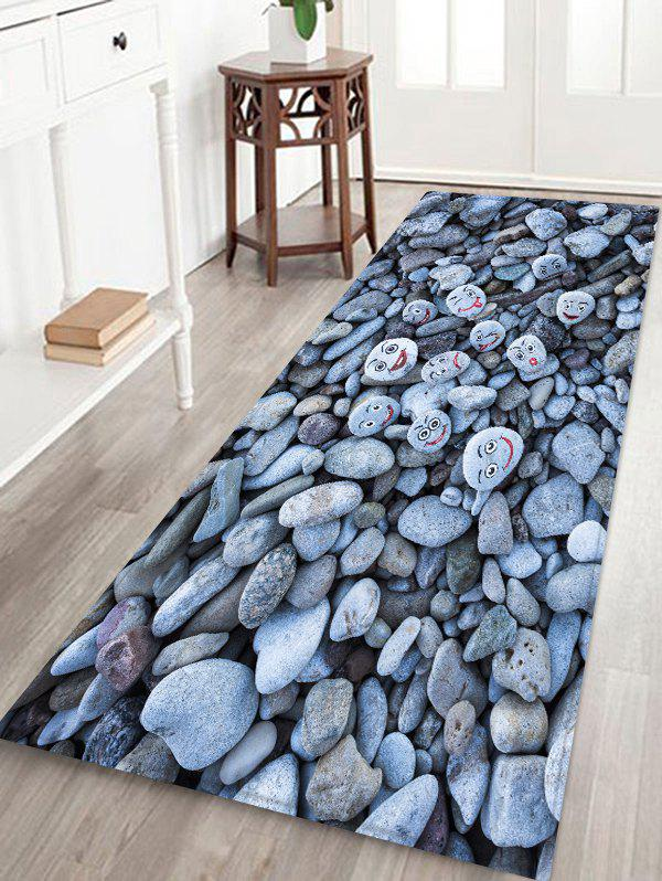 Unique Smile Faces Cobblestones Print Antiskid Floor Rug