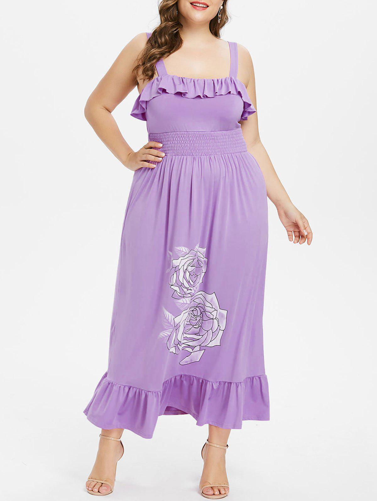 Online Plus Size Ruffle Square Collar Maxi Dress