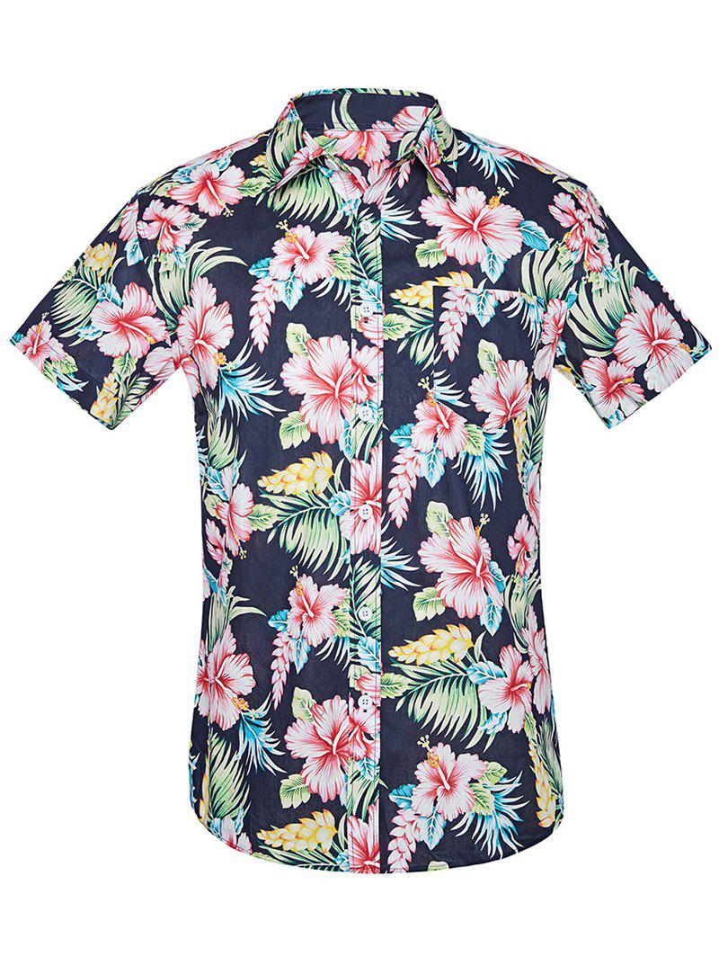 Multi L Hawaiian Flower Print Button Up Shirt Rosegal