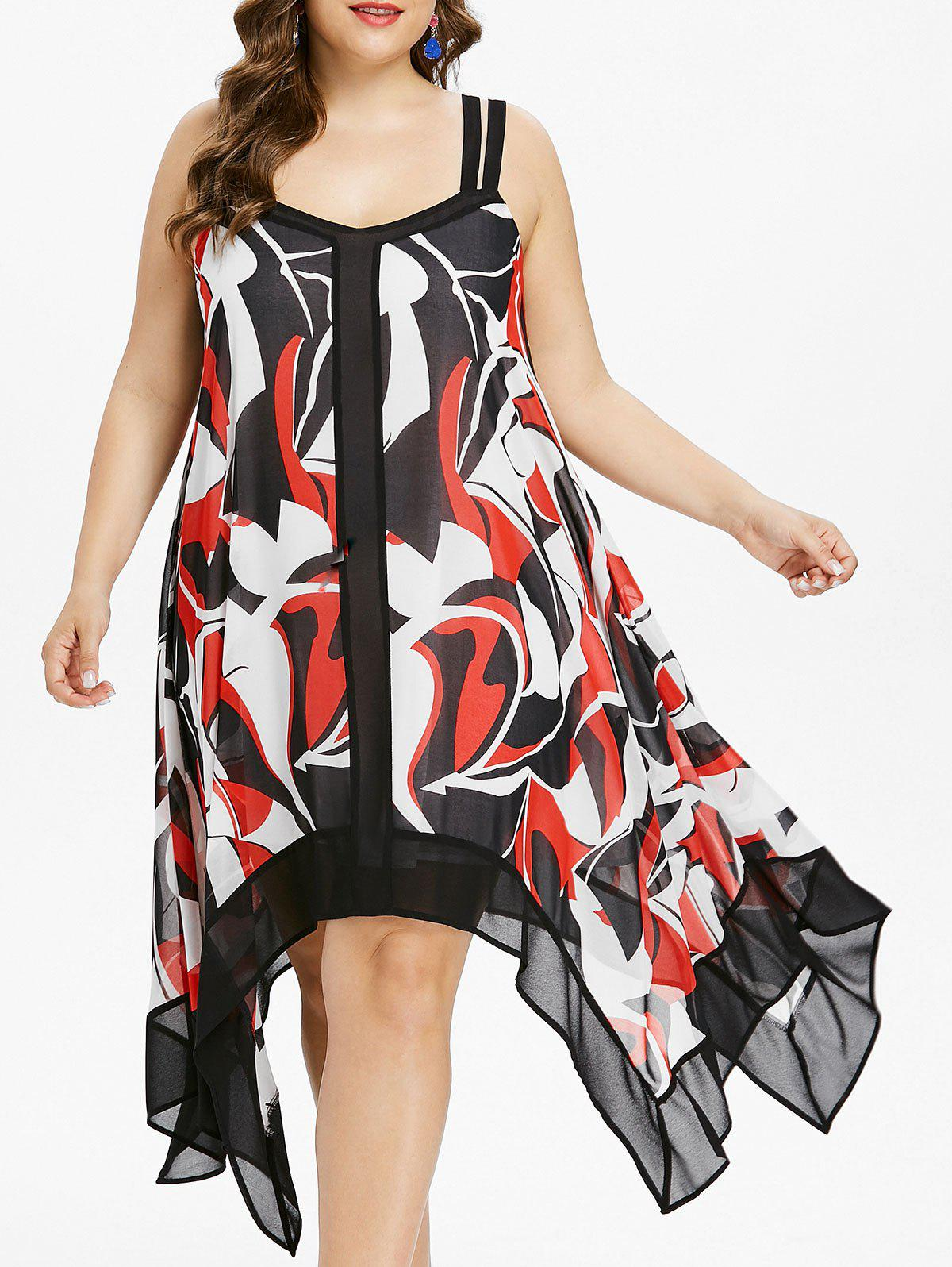 Outfit Plus Size Print Sleeveless Handkerchief Dress