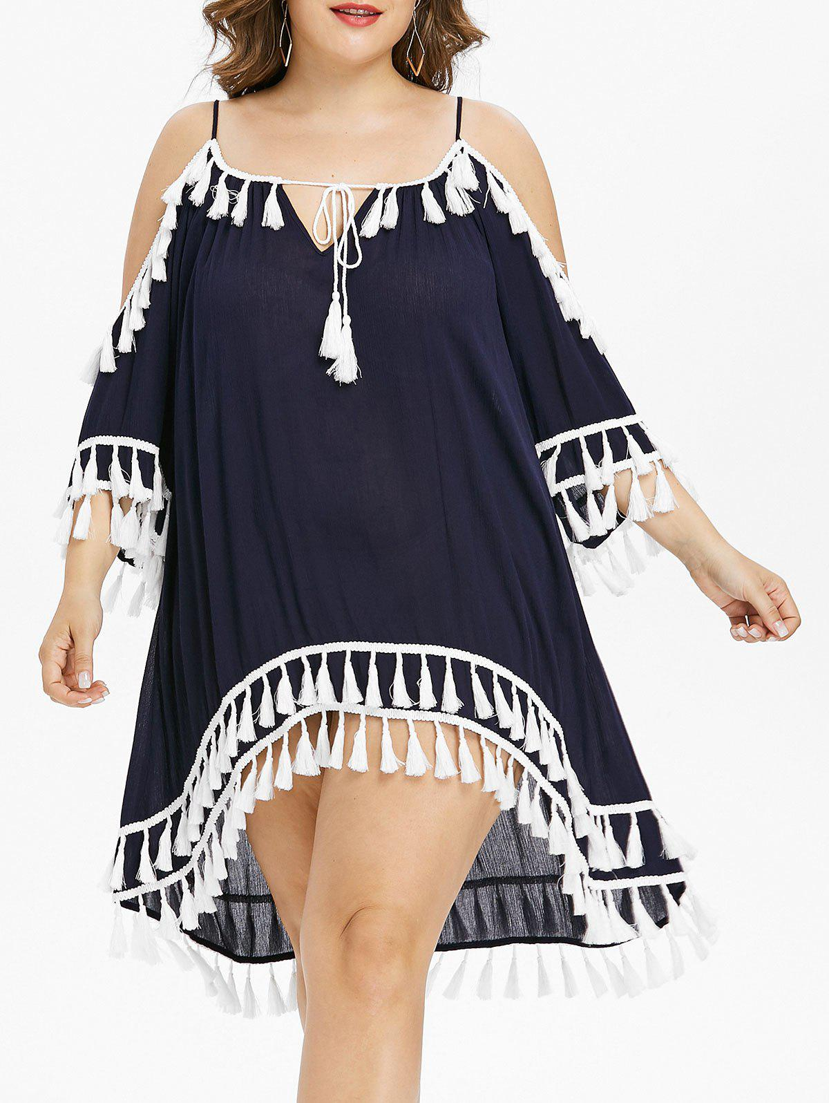 Outfits Plus Size Cold Shoulder Tassel Cover Up Dress