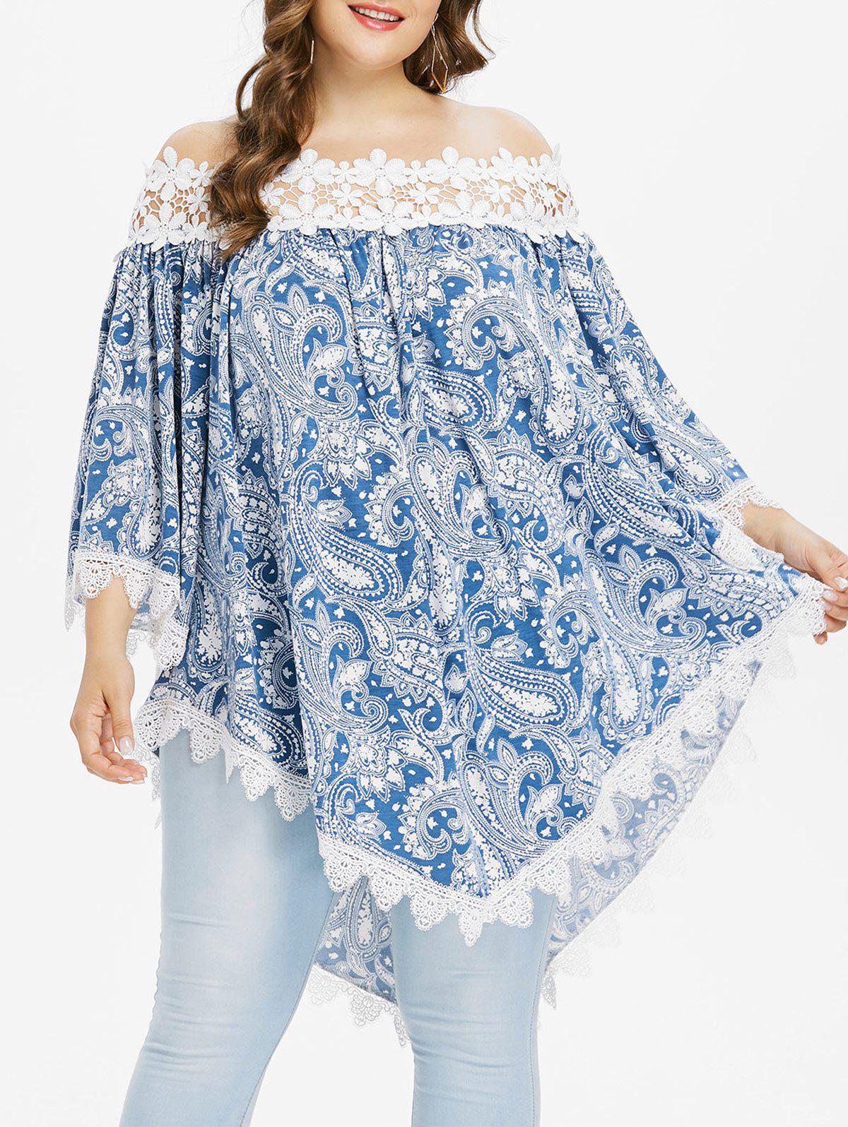 Cheap Plus Size Paisley Bell Sleeve Bohemian Blouse