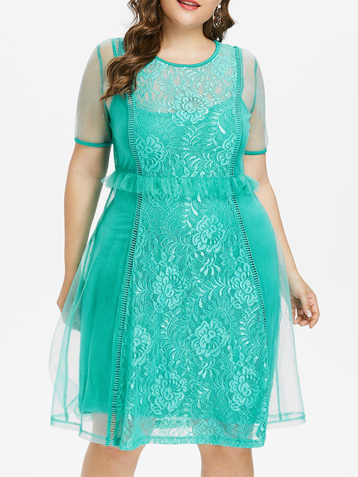 Chic Plus Size Lace Trim Knee Length Dress