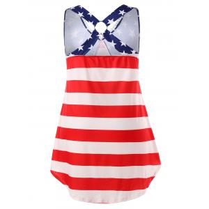 Plus Size American Flag High Low Tank Top -