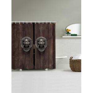 Wooden Door Lion Knocker Print Waterproof Bathroom Shower Curtain -