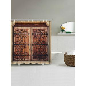 Retro Wooden Double Door Print Waterproof Bathroom Shower Curtain -