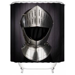 Metal Helmet Print Waterproof Shower Curtain -