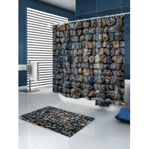 Stone Wall Print Waterproof Shower Curtain -