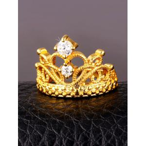 Vintage Rhinestone Inlaid Crown Decorative Ring -