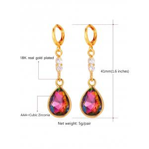 Rhinestone Faux Crystal Water Drop Design Висячие серьги -