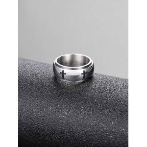 Cross Engraving Decorative Double Layers Rings -