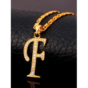 F Письмо Faux Crystal Inlay Alloy Pendant Necklace -