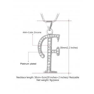 F Letter Faux Crystal Inlay Alloy Pendant Necklace -