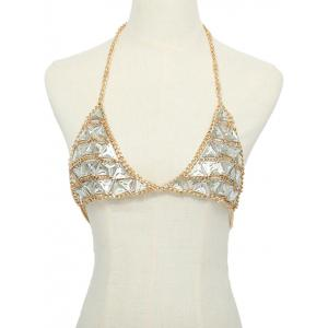 Faux Gem Decorative Bra Chain Gothic Bikini Necklace -