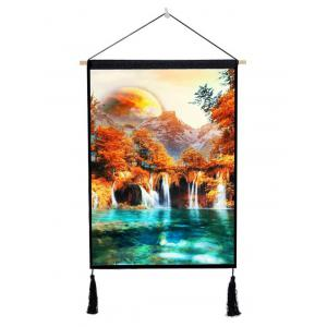 Forest Waterfalls River Print Wall Tassel Hanging Painting Decor -
