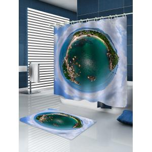 Island Printed Waterproof Shower Curtain with Flannel Rug -