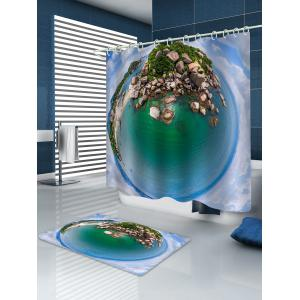 Island Printed Waterproof Bath Curtain with Flannel Rug -