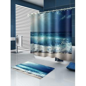 Beach Sea Wave Printed Waterproof Shower Curtain with Flannel Rug -