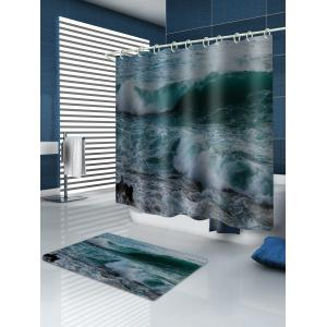 Sea Wave Printed Waterproof Shower Curtain with Flannel Rug -