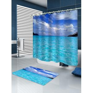 Sea Printed Waterproof Shower Curtain with Flannel Rug -