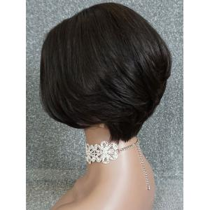 Short Center Parting Straight Bob Lace Front Human Hair Wig -