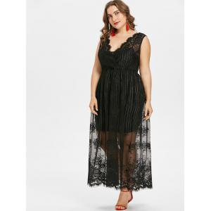 Plus Size Sleeveless Maxi Lace Dress -