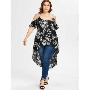 Floral Print Plus Size High Low Blouse -