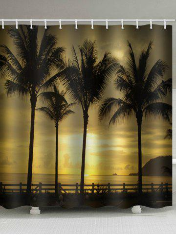 Discount Waterproof Sunset Seside Coconut Palms Scenery Printed Shower Curtain