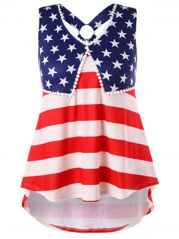 New Plus Size American Flag High Low Tank Top