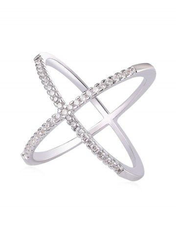 Affordable Rhinestone Inlaid Criss Cross Gift Party Anniversary Ring