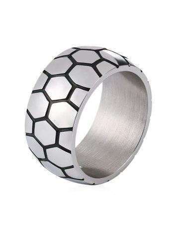 Trendy Unique Carved Checked Pattern Stainless Steel Ring