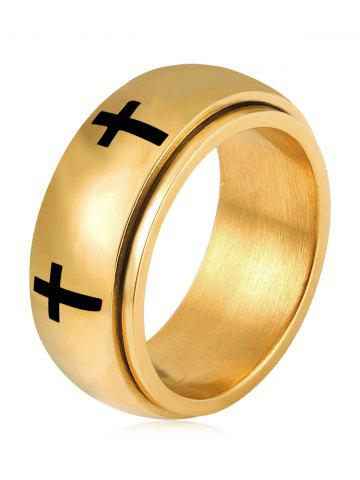 Fancy Cross Engraving Decorative Double Layers Rings