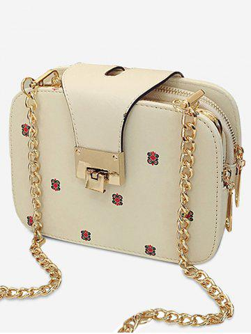 Outfit Casual Metallic Chain Flower Crossbody Bag