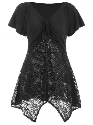Outfit Drawstring Lace Insert Swing Handkerchief Tee
