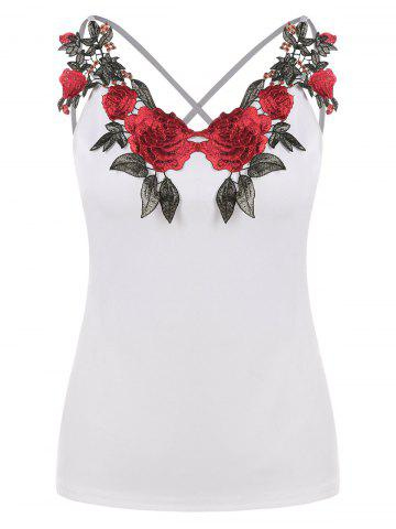 Affordable Applique Criss-cross Strappy Camisole