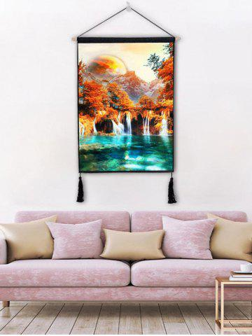 Unique Forest Waterfalls River Print Wall Tassel Hanging Painting Decor