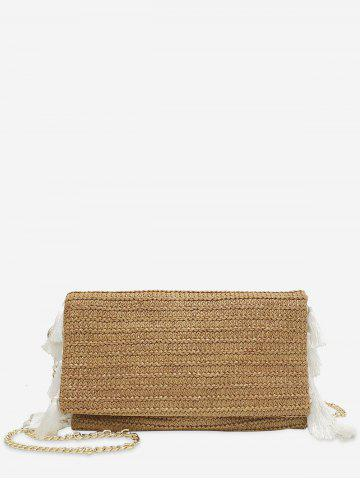 Cheap Metal Chain Tassels Straw Casual Crossbody Bag