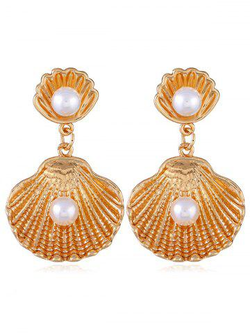 Unique Faux Pearl Decoration Shell Shaped Drop Earrings
