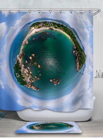 Outfits Island Printed Waterproof Shower Curtain with Flannel Rug
