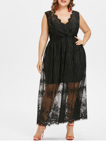 Buy Plus Size Sleeveless Maxi Lace Dress