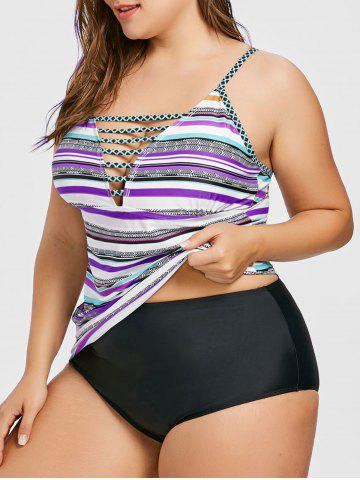 New Ladder Cutout Stripe Plus Size Tankini