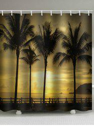 Waterproof Sunset Seside Coconut Palms Scenery Printed Shower Curtain -