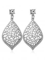 Filigree Openwork Rhinestone Stud Drop Earrings -