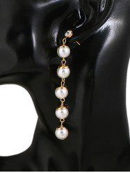 Rhinestone Faux Pearl Long Stud Drop Earrings -
