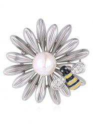 Synthetic Pearl Rhinestone Flower Bee Designed Brooch -