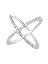 Rhinestone Inlaid Criss Cross Gift Party Anniversary Ring -