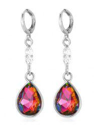 Rhinestone Faux Crystal Water Drop Design Hanging Earrings -